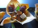 squash,chorizo & feta wonton tartlets