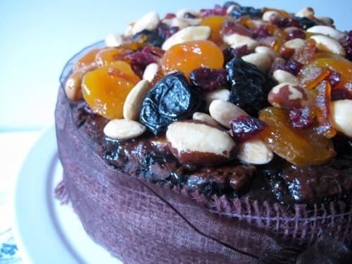 Chocolate orange christmas fruit cake