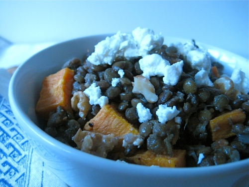 wintry red wine lentils