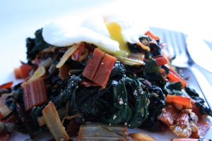 chard with poached egg