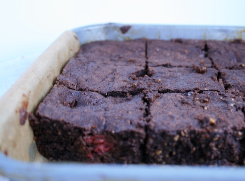 Decadent raspberry & hazelnut brownies