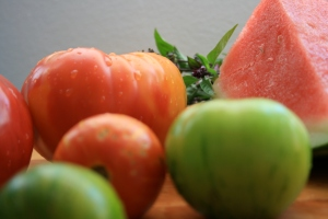 watermelon tomato & goats cheese salad