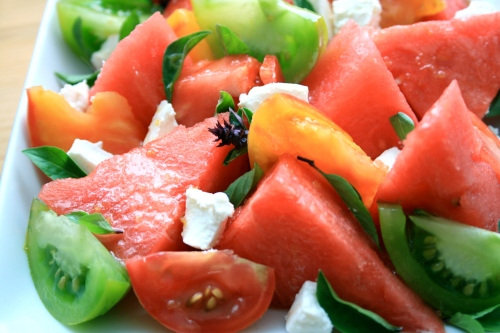 watermelon tomato & goats cheese salad