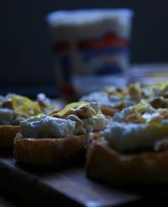 Lemon ricotta crostini